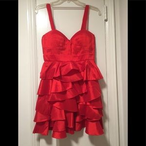 Red cocktail dress with ruffled skirt